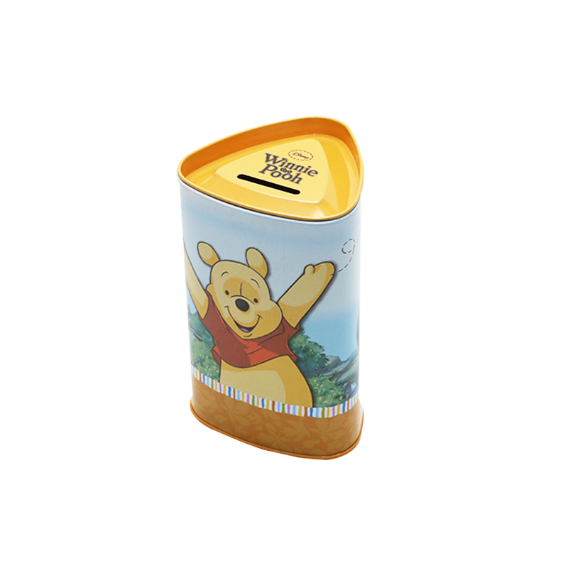 High Quality  Triangle Tin Saving Money Coin Box Can With Easy-Open Cover YC18