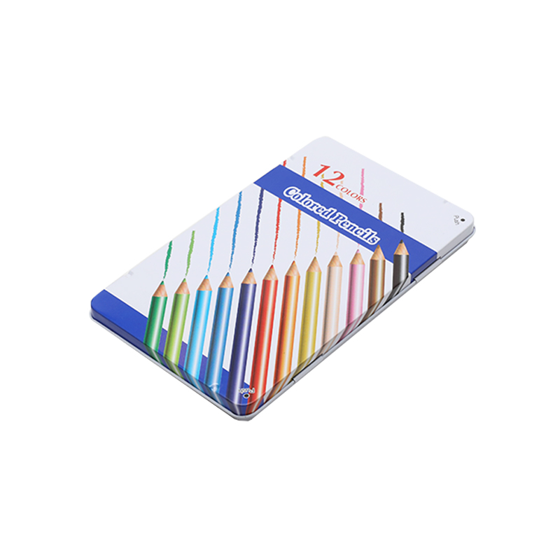 Wholesale Custom Printing 12pcs Color Pencil Tin Metal Box Plastic Tray Inside School Office Use YA003
