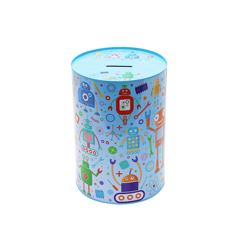 Wholesale Custom Printing Round Tin Metal Coin Bank Can For Kids YC03