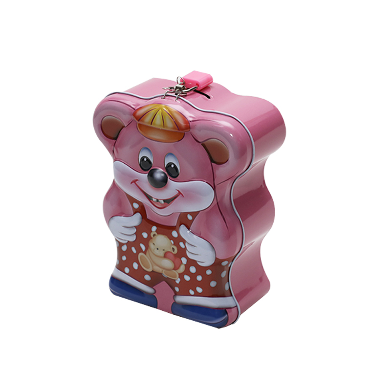 Bear-Shaped Tin Saving Money Coin Box Can With Key And Lock YC21