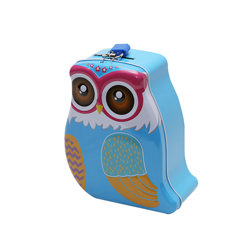 Wholesale Custom Printing Owl-Shaped Tin Saving Money Coin Box Can With Key And Lock YC16