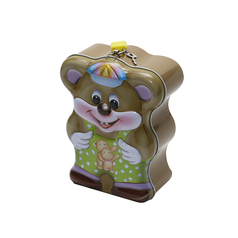 Wholesale Custom Printing Bear-Shaped Tin Saving Money Coin Box Can YC21